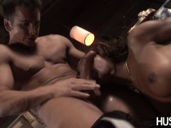 Black babe Marie Luv gets her mouth intruded with a monstrous hard cock
