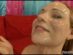 Christine Michaels gets her face all glazed with slimey cum after a hot fuck