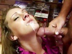 Hot momma Rhiannon Alizedripping jizz from pretty face after a deep fucking