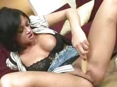Hot nympho Tory Lane toying her snatch with her favorite toy in her livingroom