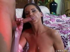 Beautiful Angel Dark loves the warmth of her man's cum on her filthy mouth