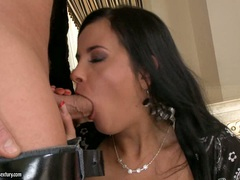 Bitchy babe Candy Alexa stuffs her mouth with an awesome cock she really loves
