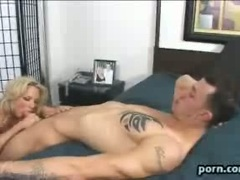Saucy whore Rachel Love fills her mouth and throat with a big fat cock