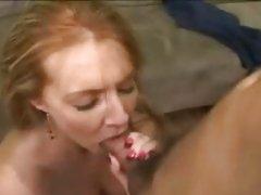 Sexy milf Morgan Reigns shoving huge cock deep down silky throat