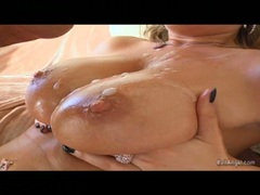 Filthy busty Jessica Moore gets those meaty bazoombas creamed and enjoys it