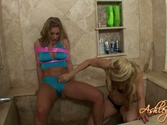 Sexy hot blonde Ashley Fires gets too hot to handle in the shower with a friend