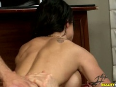 Huge boobed babe Jewels double fucked with cocks ripping open ass and twat