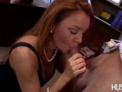 Hot whore Janet Mason enjoys a juicy hard cock in her mouth like a lollipop