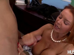 Cum loving whore Janet Mason likes getting sprayed with cum after a horny fuck