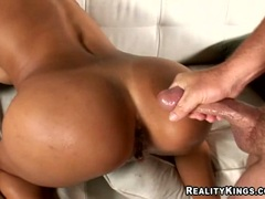 Naughty Francessca Le fucked deep from behined with huge cock untill it cums