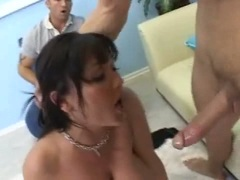 Big tittied babe Claire Dames sucking on beefy cock and slipping between tits