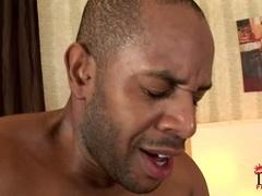 Naughty bitch Salome sucks off black cock the jerks it dry