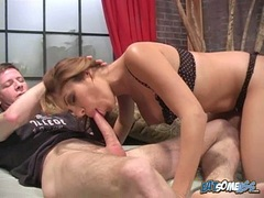 Bitchy babe Sativa Rose fills her mouth with a massive cock and loves it