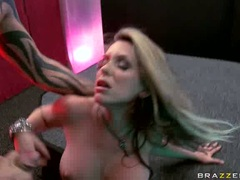Hot babe Courtney Cummz awaits a hot cumshot after a scorching hot one on one