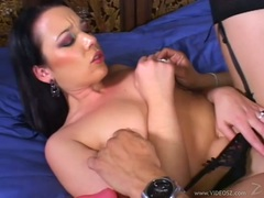 Hot babe Olivia Saint gets a toy rammed deep and fast and her clit licked hard