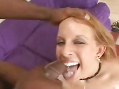 Sweet little Desire Moore gets her cunt fucked hard and face jizzed by black rod