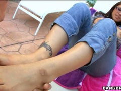 Gorgeous bitch Eva Angelina loves to get her feet adored by her boyfriend