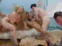 Blonde Devon Lee and friends gets a wild hot fuck altogether in the livingroom