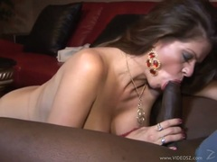 Cock loving bitch fills her filthy mouth with an awesome monted boner