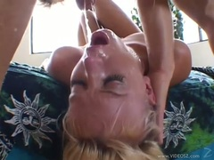 Cock starving honey Holly Wellin gives her man a messy blowjob and enjoys it