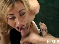 Cum thirsting whore Gwen Diamond loves to get her mouth jizzed after a hot fuck