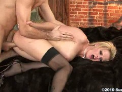 Blonde Euro babe Tarra White stretching pussy around giant thick cock