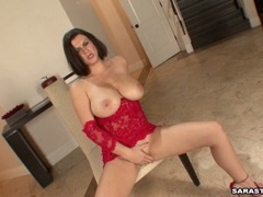 Sultry brunette slut Sara Stone frigs her hot eager clit and toys her twat