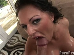 Bitchy big boobed Kerry Louise gets those proud titties glazed with warm jizz