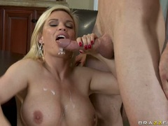 Scorching hot Diamond Foxxx gets her mouth dribbling with fresh hot cum