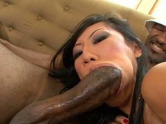 Cock lover Tia Ling fills her mouth with a monstrous boner until she chokes