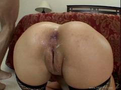 Anal loving whore Roxy Jezel loves the hot cream ozzing out of her tight ass