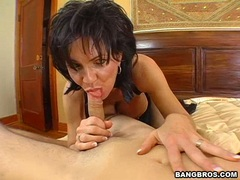 Horny momma Deauxma fills her mouth with a thick man meat sausage