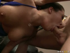 Cock starved London Keys chokes herself with a montrous hard cock and loves it