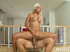 Sizzling whore Bridgette B slams her sexy twat on a thick boner with pleasure