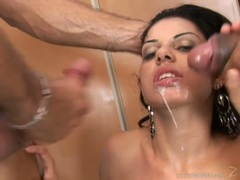 Cum craving whore Chanel Chavez receives a hot reward of jizz on her mouth