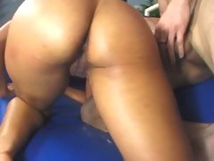 Isis Love takes a load up her fit slit before letting it drip out of her gape