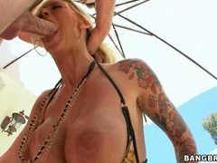 Cock starved blondie Brooke Biggs chokes herself with an awesome huge cock