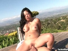 Sexy horny Kaiya Lynn bouncing her shaved snatch on a rock hard cock