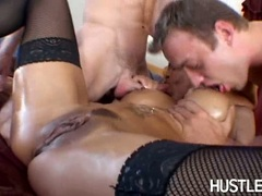 Filthy whore Alexis Amore chokes herself with one meaty shaft she really enjoys
