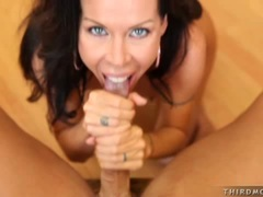 Filthy hot Tabitha Stevens enjoys the spurt of cum she gets after blowing a cock