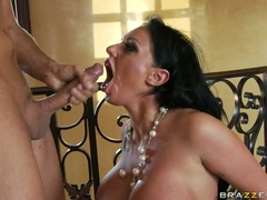 Scorching hot Kerry Louise receives a hot load of man cream after one hard bang