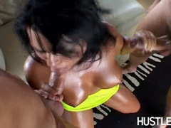 Hot and wild Eva Angelina eagerly taking one cock at a time in her mouth