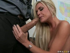 Scorching bimbo Mckenzie Miles slurps a massive cock in her box like a noodle