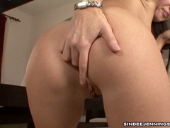 Sexy alluring Sindee Jennings pleasures herself with her awesome hot fingers