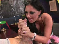 Sizzling babe Kerry Louise gives her lover one gaggy blowjob with pleasure