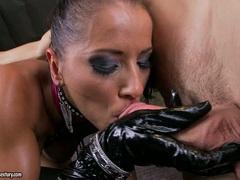 Nod loving pornstar Angel Dark gets her mouth busy sucking a hard man lollipop