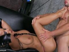 Sexy hot Angel Dark loves getting her slutty feet sauced with fresh and warm goo