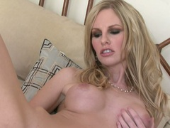 Scorching hot Aimee Addison fills her ass with her toy and likes the pleasure