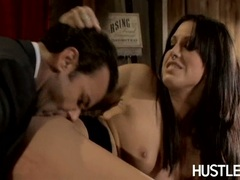 Lusty Roxy Deville bends herself and likes getting banged hard from behind