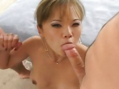 Deepthroating Asian Mia Smiles fills wet mout wit two huge cocks
